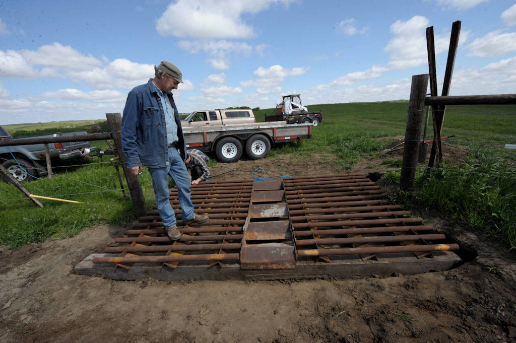 Photo: A cattle guard being installed at a pasture near Valparaiso, Nebraska.