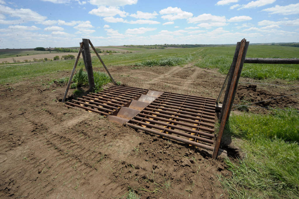 Photo: A recently installed cattle guard in a pasture near Valparaiso, Nebraska.