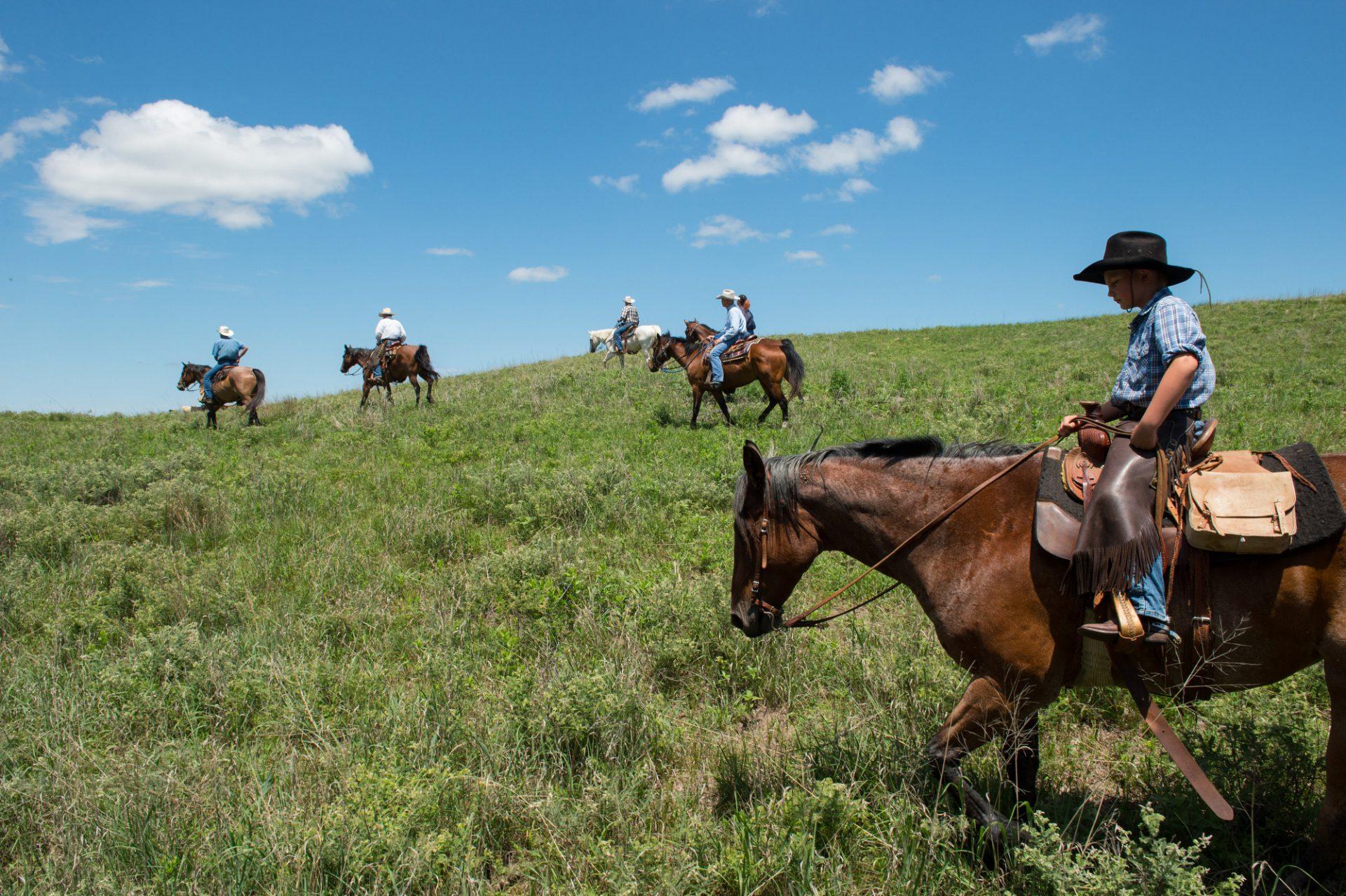 Photo: Ranchers ride horses through a field.