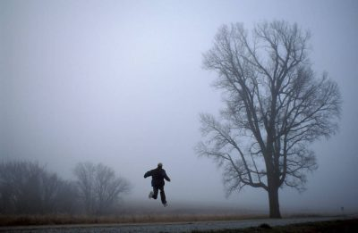 Photo: Skipping down the road on a misty morning near Otoe, Nebraska.