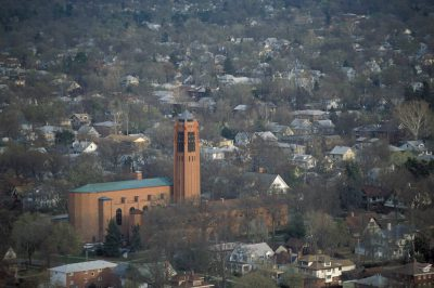 Photo: Overview of historic First Plymouth church and surrounding neighborhood in Lincoln, Nebraska.