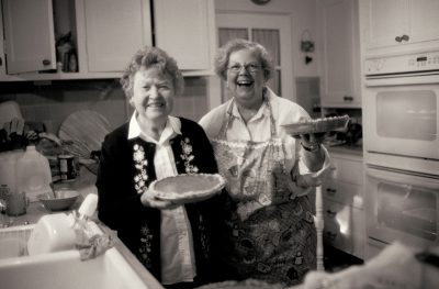 Photo: Colleen Vestecka and Sharon Sartore in the kitchen, Thanksgiving 2004.
