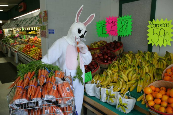 Photo: The Easter bunny visits the grocery store.
