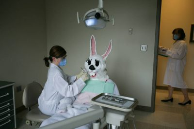 Photo: The Easter bunny visits the dentist.