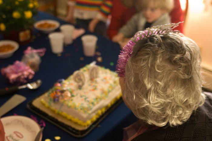 Photo: A woman celebrates her 90th birthday.