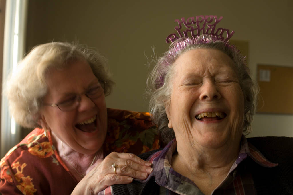 Photo: A woman celebrates her 90th birthday with her daughter.