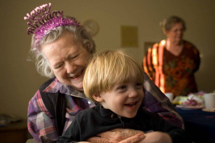 Photo: A woman celebrates her 90th birthday with her family.