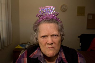 Photo: A woman makes a funny face on her 90th birthday.