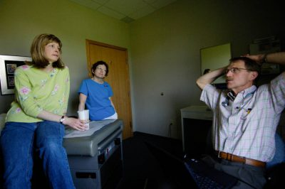 Photo: A doctor consults with a breast cancer patient.
