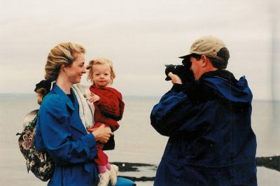 Photo: Joel Sartore photographs his wife, Kathy and daughter, Ellen on a family trip to Europe.