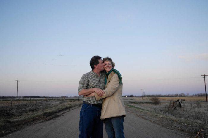 Photo: A man kisses his wife near Gibbon, Nebraska.