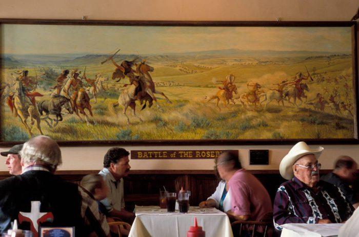 Photo: The historic Sheridan Inn where the 'Battle of the Rosebud' mural hangs in the Inn's restaurant in Sheridan, Wyoming.