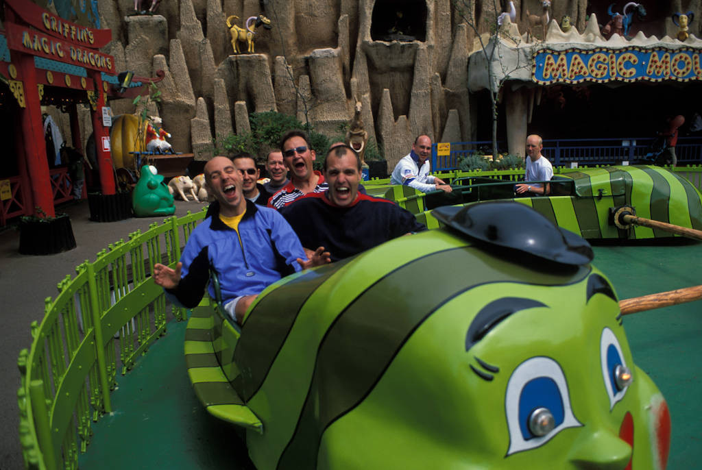 Photo: Members of the Wiltshire Fire Brigade enjoy a kids ride at Pleasure Beach in Blackpool, Scotland.