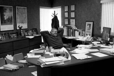Photo: An accountant relaxes at his desk in Lincoln, Nebraska.