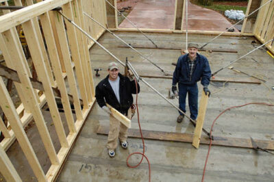 Photo: Two men at a construction site in Lincoln, Nebraska.