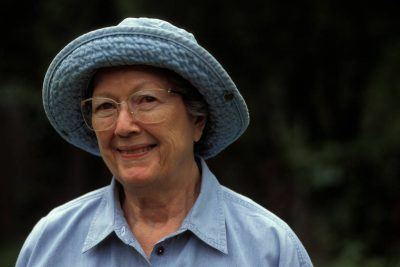 Photo: Faynell Meese smiles sweetly for a portrait while wearing her gardening hat.