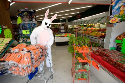 Photo: The Easter Bunny shops for carrots at a grocery store in Nebraska.