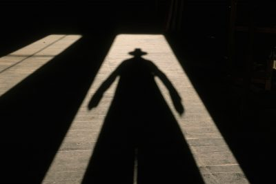 Photo: A cowboy casts a long shadow.
