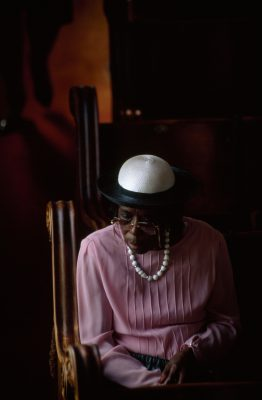 Photo: A parishioner at Stone Street Baptist church, founded by free blacks in the early 1800's, in Mobile, Alabama.