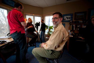 Photo: John Chapo prepares to be interviewed by Anne Thompson of NBC Nightly News in his office at the Lincoln Children's Zoo