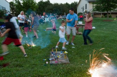 Photo: A crowd gathers for fireworks on the Fourth of July.
