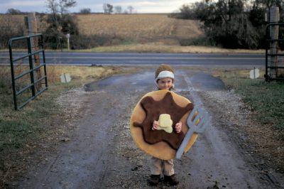 "Photo: Cole Sartore dresses as ""Pancake Boy"" on Halloween at a Nebraska farm."