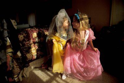 Photo: Ellen and Elsa play dress-up.