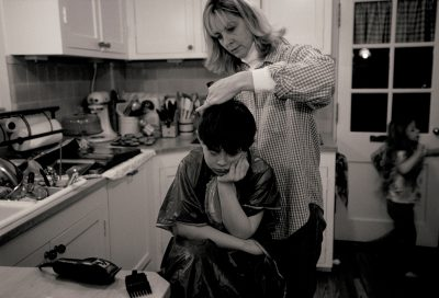 Photo: Cole Sartore gets a haircut.
