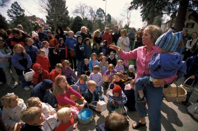 Photo: The annual Easter egg hunt on Sheridan Boulevard in Lincoln, Nebraska.