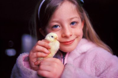 Photo: Ellen Sartore with chick.