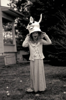 Photo: Ellen Sartore, partly costumed as the Easter Bunny.