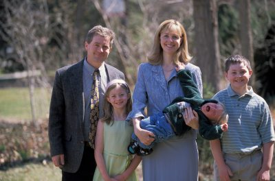 Photo: The Sartore family, mostly happy, Easter 2005.
