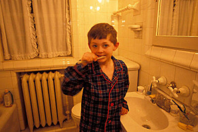 Photo: Cole Sartore brushes his teeth.