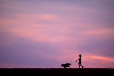 Photo: Ellen Sartore walks her pet sheltie Prairie in Lincoln, Nebraska.
