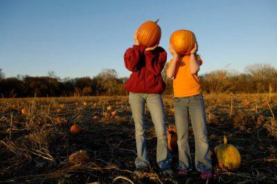 Photo: Children hold pumpkins up to their heads at a pumpkin patch.