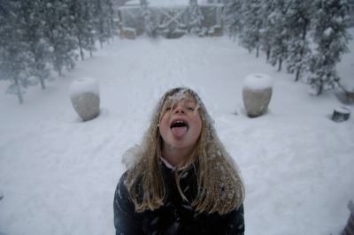 Photo: A girl plays outside after a snowstorm in Lincoln, Nebraska.