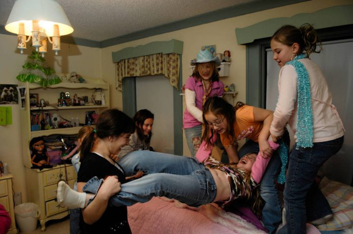 Photo: Girls play at a ten-year-old's birthday party.