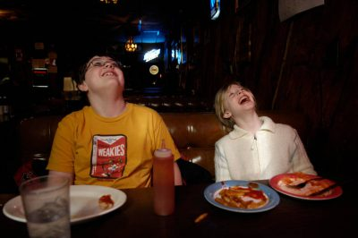 Photo: A brother and sister eat lunch at a restaurant in Anselmo, NE.