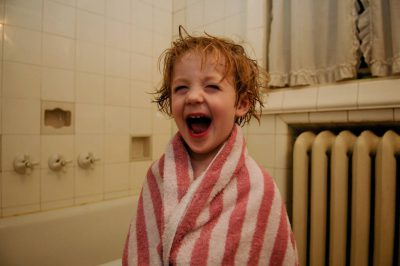 Photo: A three-year-old after his nightly bath.