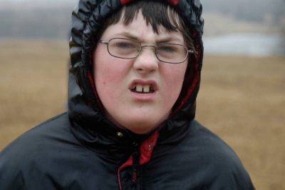 Photo: A young boy looks disgusted in a field in Lancaster County.