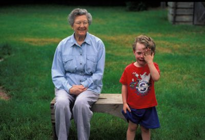 Photo: A young boy and his great-grandmother, Faynell Meese, spend quality time together.