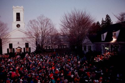 Photo: Mystic Seaport, Connecticut residents gather at Anchor Circle to sing Christmas carols.
