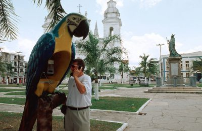 Photo: Tourist using an unusual pay phone in Manaus, Brazil (on the Amazon River).