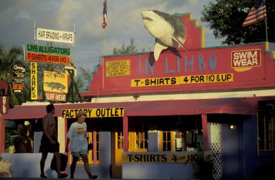 Photo: A t-shirt shop in Florida's middle Keys uses a shark on its sign to draw in tourists.