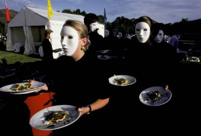 Photo: Masked waiters at a wine festival in Sun Valley, Idaho.