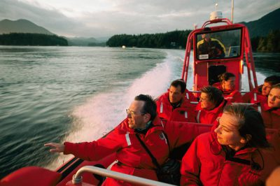 Photo: Visitors to Vancouver Island search for gray whales in Clayoquot Sound.