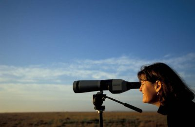 Photo: Nancy Brown watches the birds at Attwater Prairie Chicken National Wildlife Refuge in Texas.