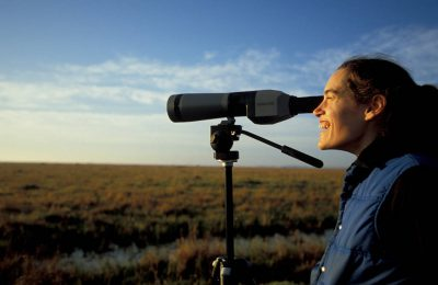 Photo: Jessica Milne watches the birds at Attwater Prairie Chicken National Wildlife Refuge in Texas.