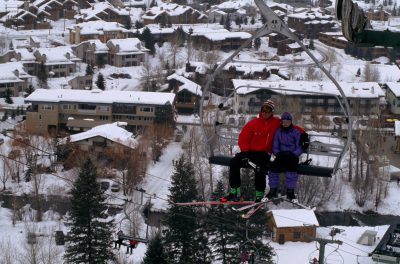 Photo: Skiers ride a lift at a resort near Sun Valley, Idaho.
