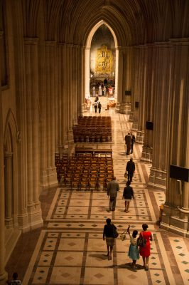 Photo: A high angel view of the National Cathedral, Washington, District of Columbia.